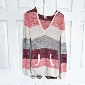 Roxy Striped Knit Hooded Sweater